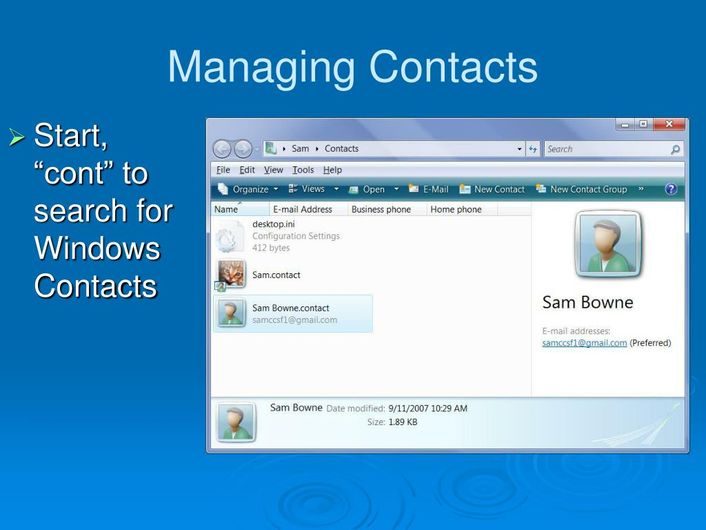 Managing Contacts