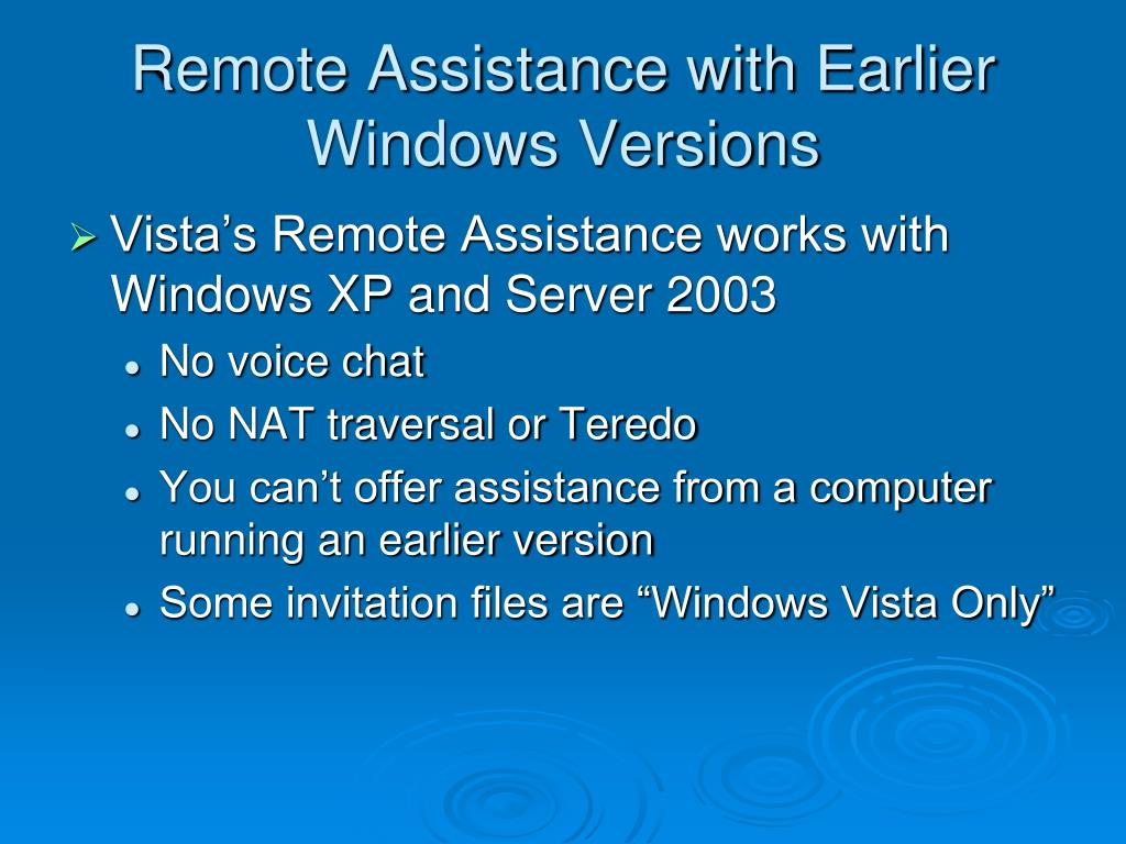 Remote Assistance with Earlier Windows Versions