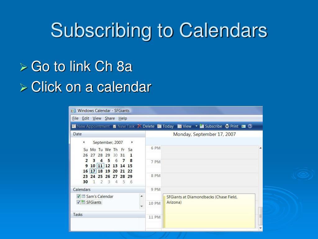 Subscribing to Calendars