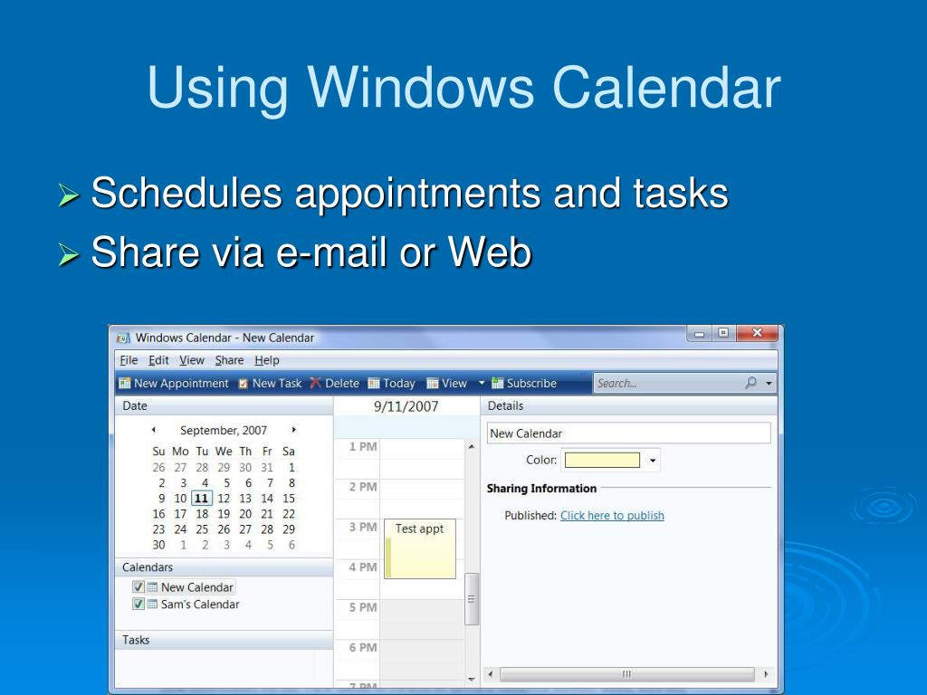 Using Windows Calendar