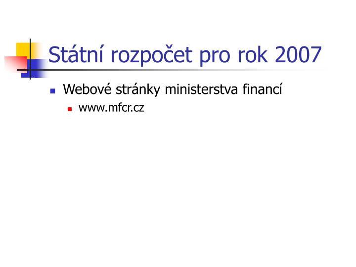 Státní rozpočet pro rok 2007