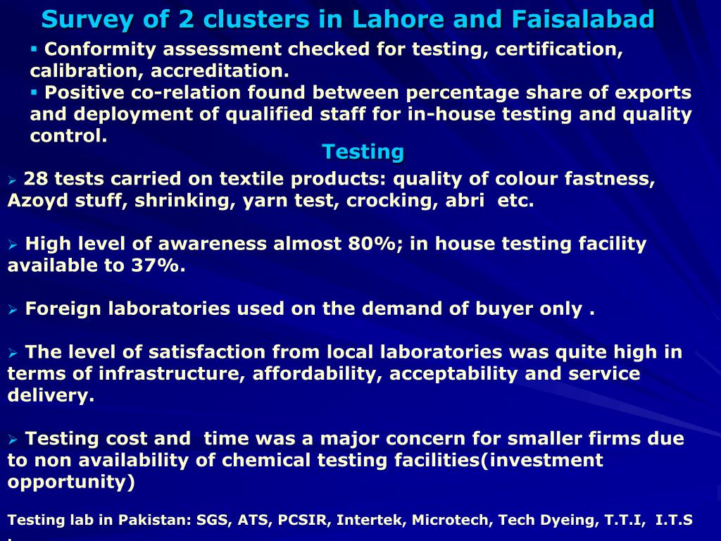 Survey of 2 clusters in Lahore and Faisalabad