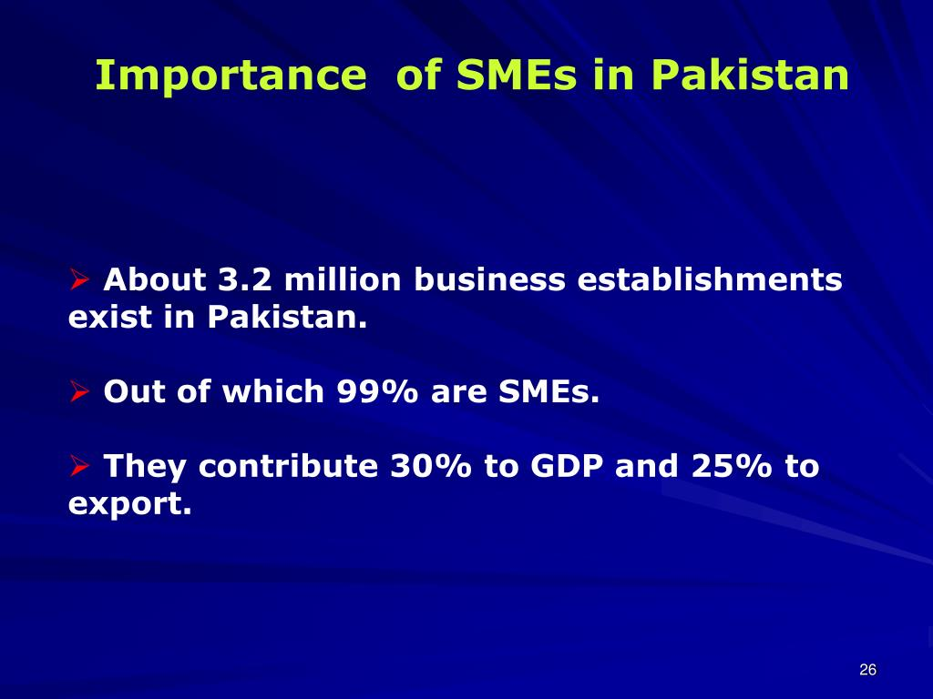 Importance  of SMEs in Pakistan