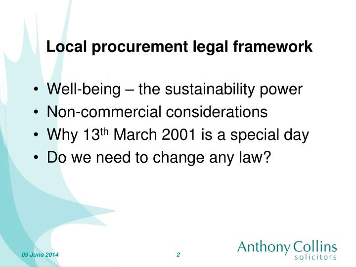 Local procurement legal framework