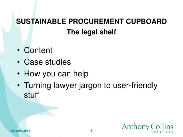 SUSTAINABLE PROCUREMENT CUPBOARD