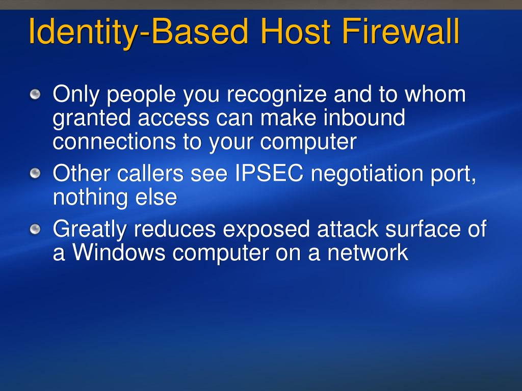 Identity-Based Host Firewall
