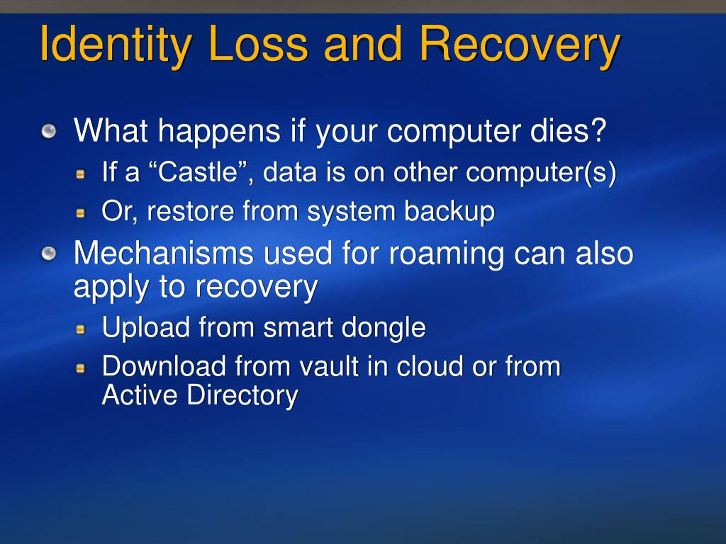 Identity Loss and Recovery