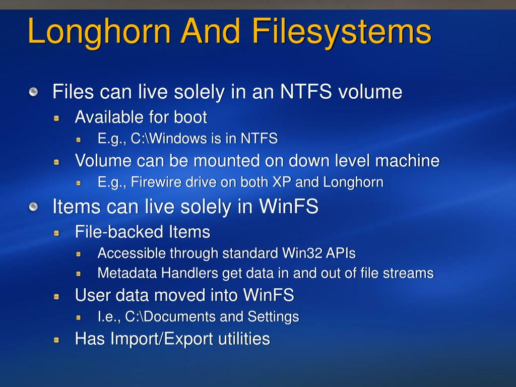 Longhorn And Filesystems