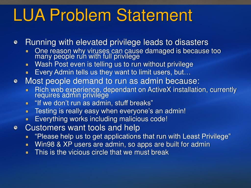 LUA Problem Statement