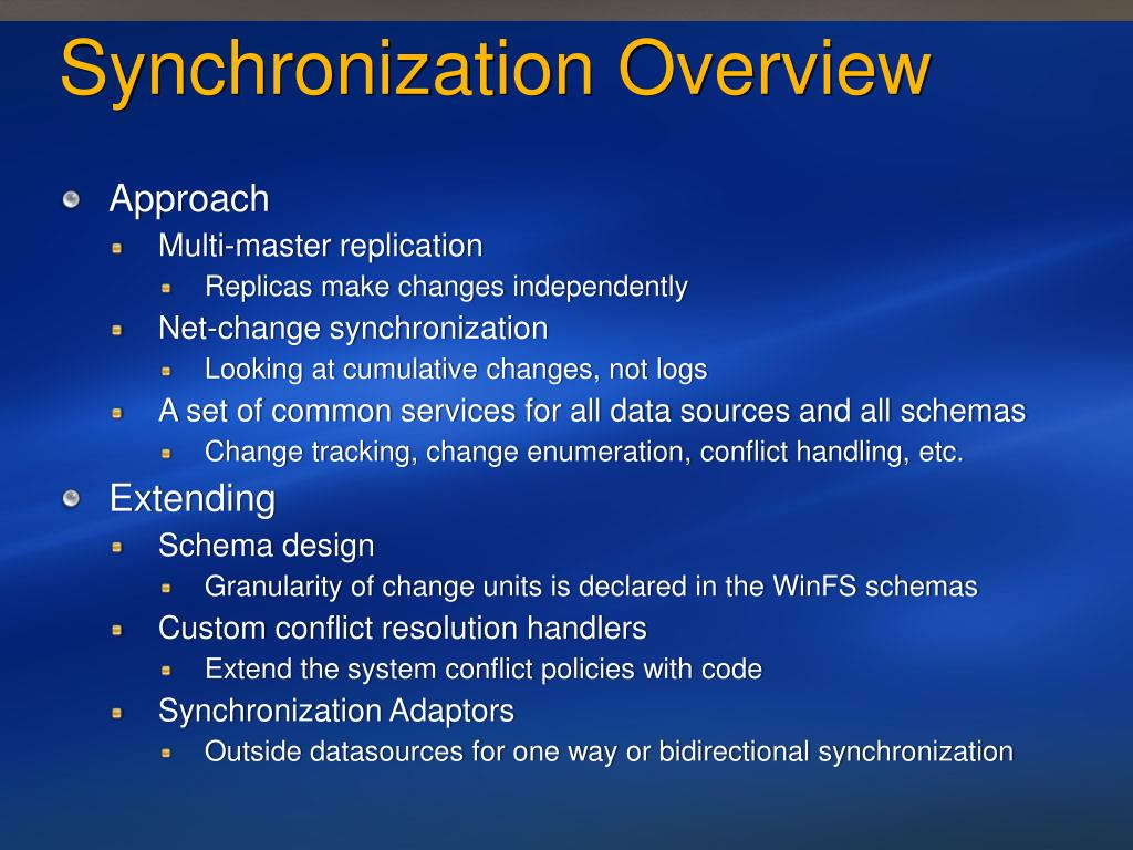 Synchronization Overview