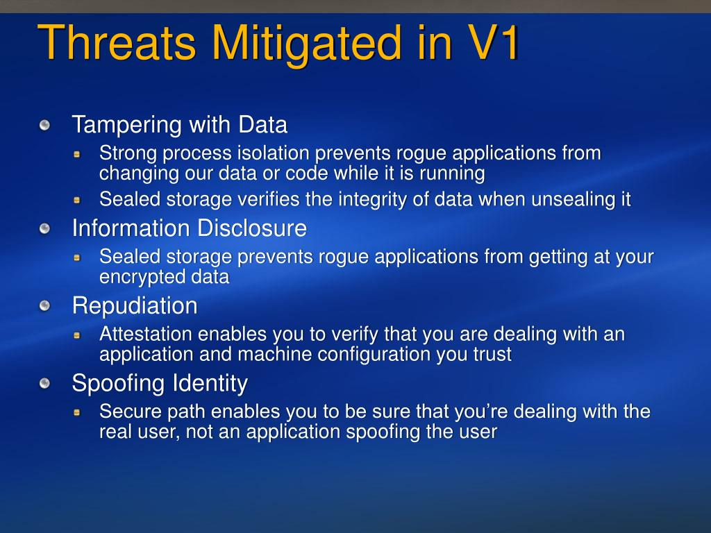 Threats Mitigated in V1