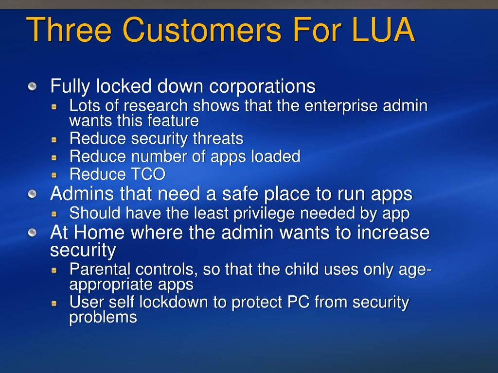 Three Customers For LUA