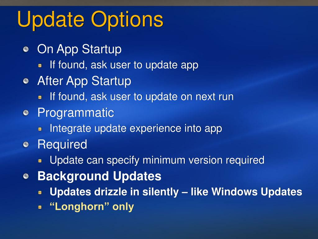 Update Options