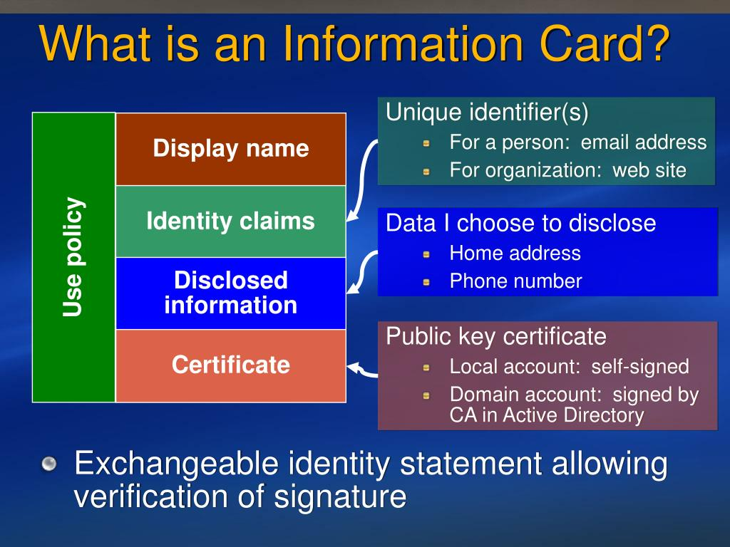 What is an Information Card?