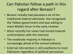 can pakistan follow a path in this regard after benazir