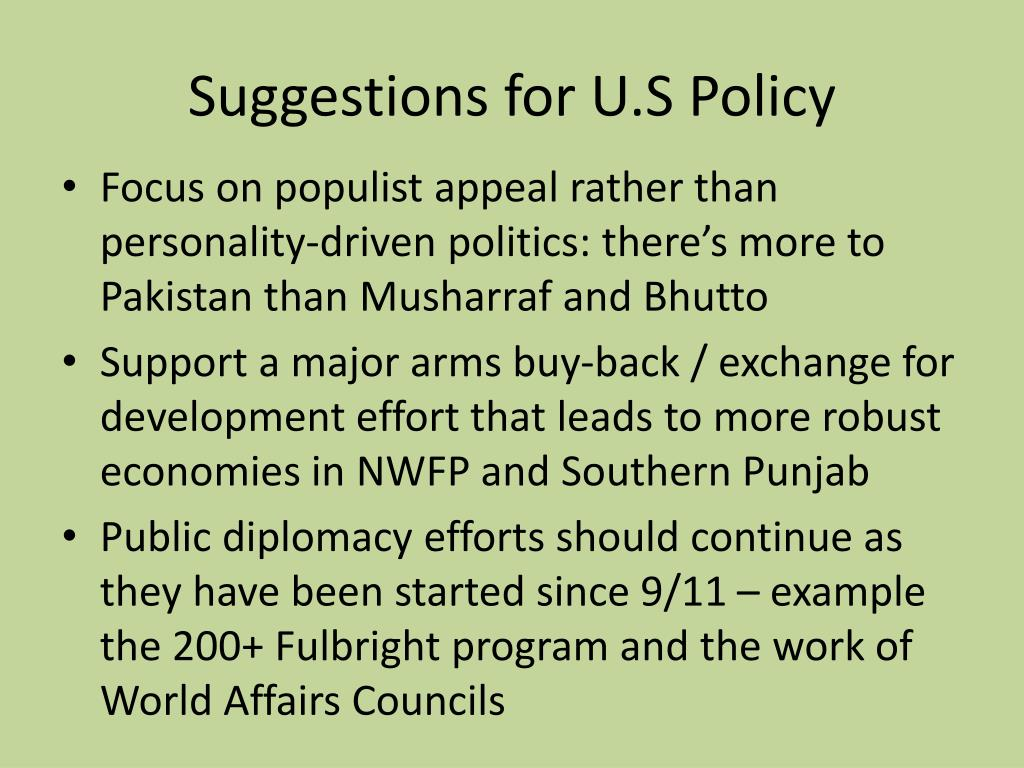 Suggestions for U.S Policy