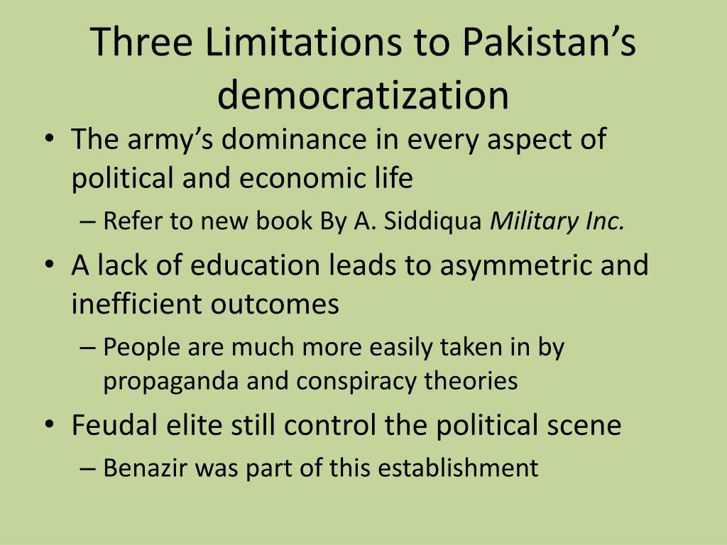 Three Limitations to Pakistan's democratization