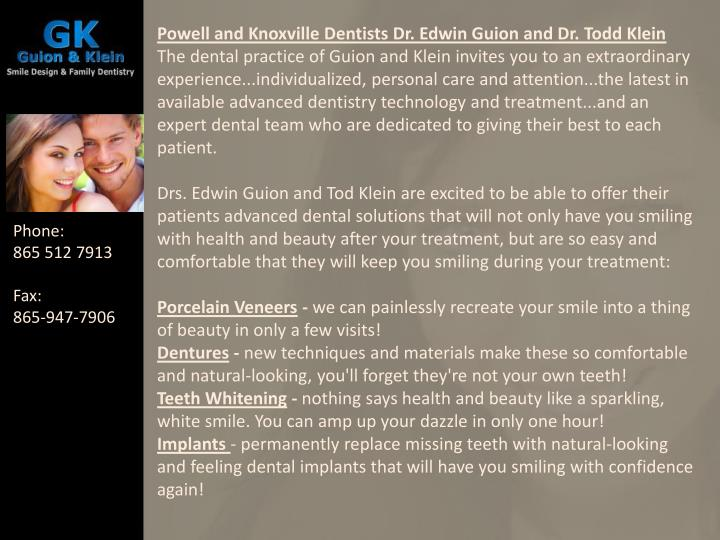 Powell and Knoxville Dentists Dr. Edwin Guion and Dr. Todd Klein