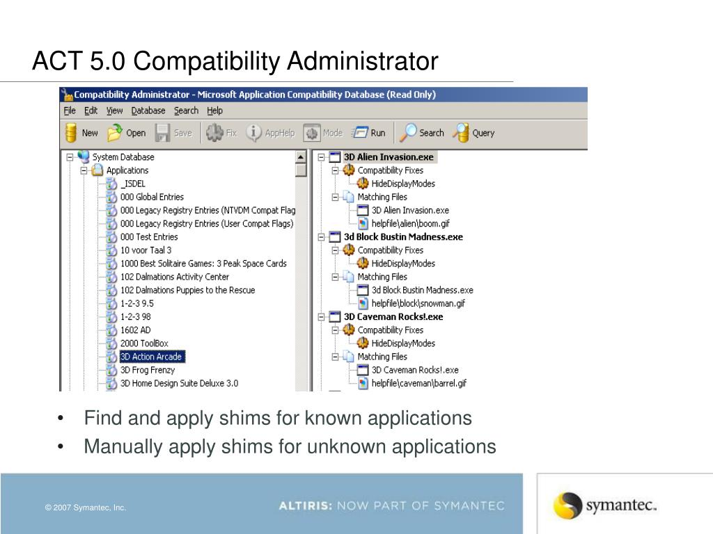ACT 5.0 Compatibility Administrator