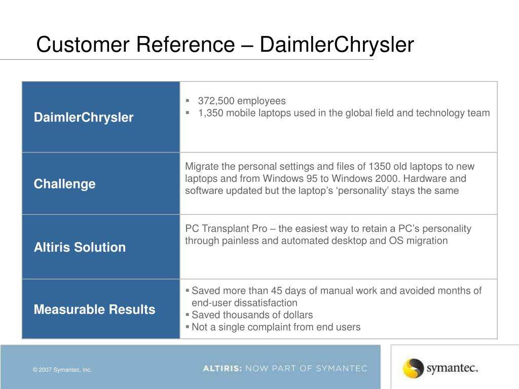Customer Reference – DaimlerChrysler
