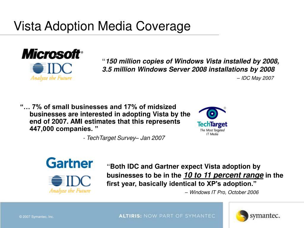 Vista Adoption Media Coverage