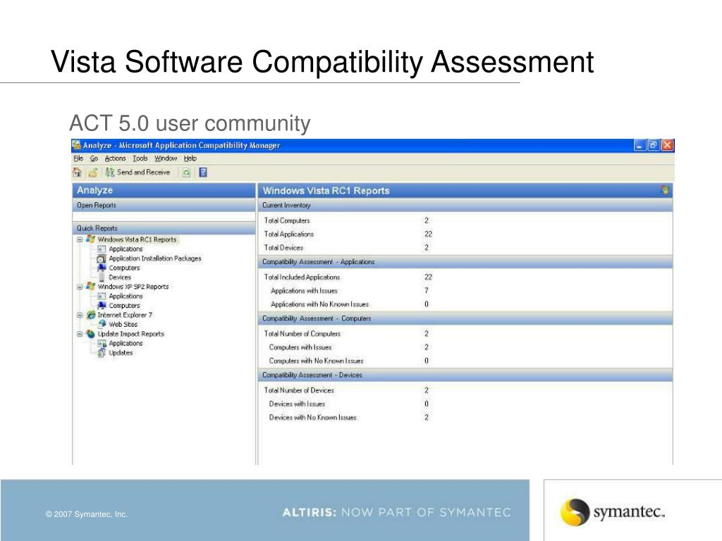 Vista Software Compatibility Assessment