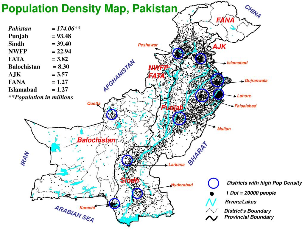 Population Density Map, Pakistan