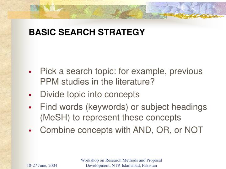 Basic search strategy