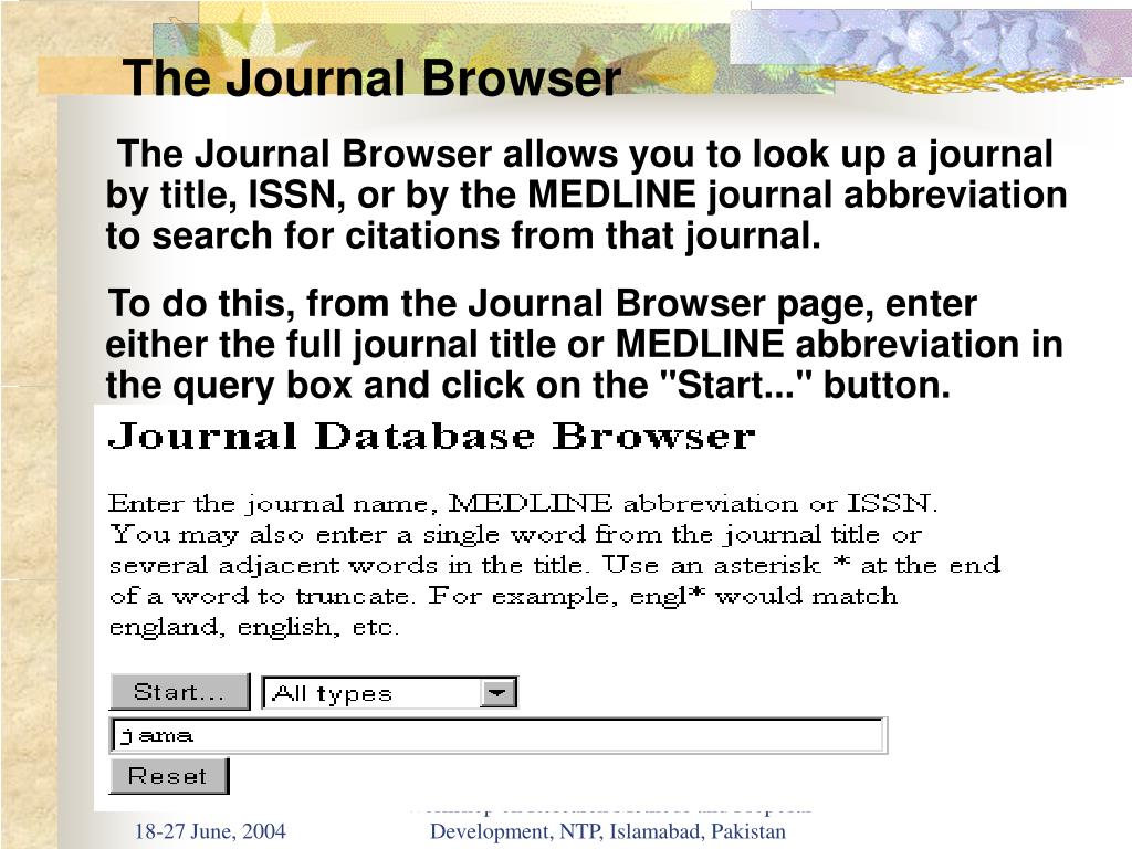 The Journal Browser