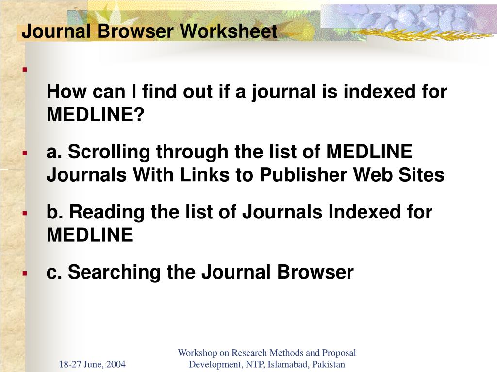 Journal Browser Worksheet
