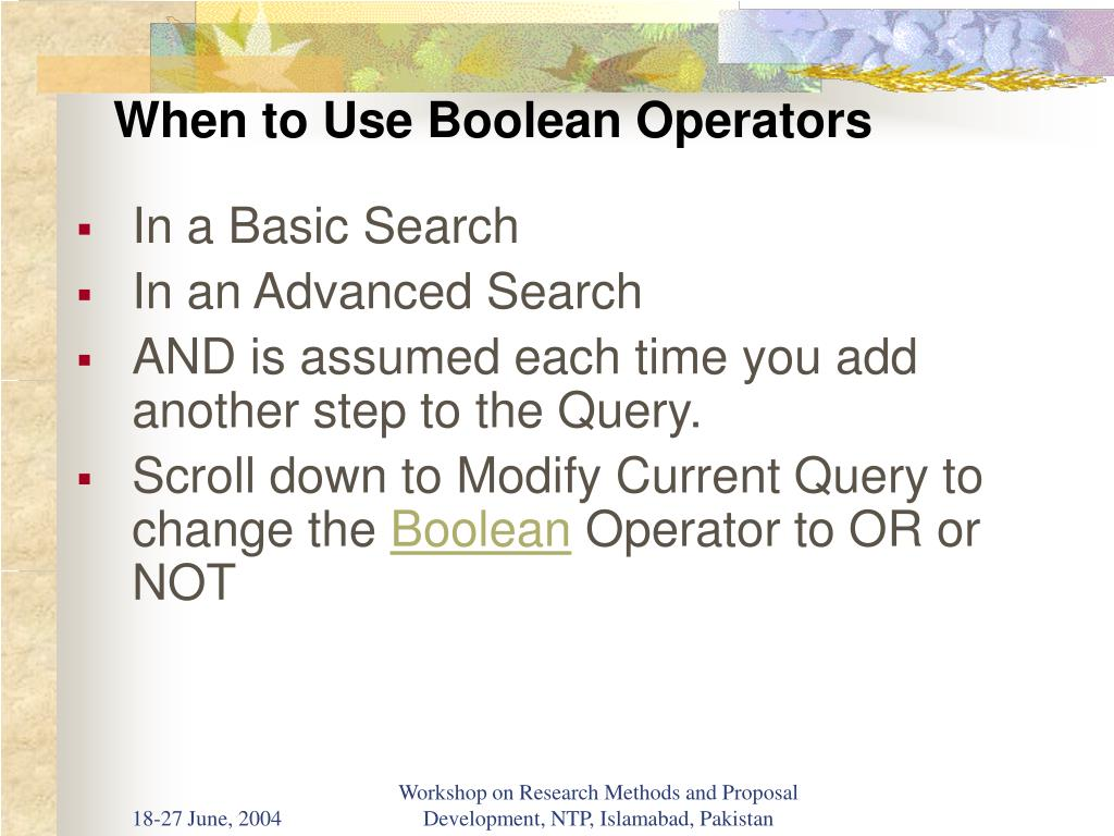 When to Use Boolean Operators