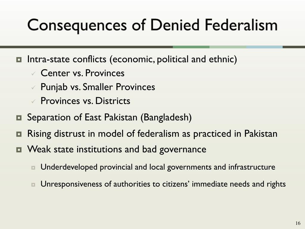 Consequences of Denied Federalism