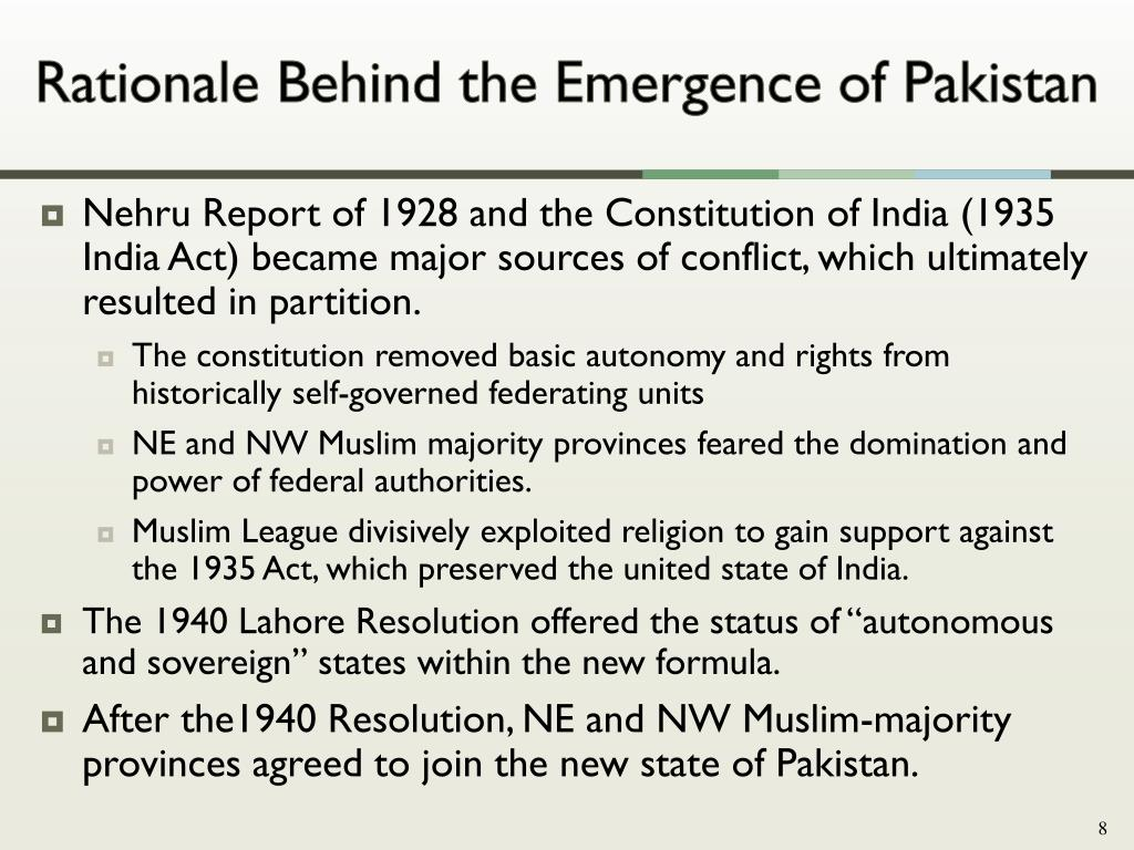 Rationale Behind the Emergence of Pakistan