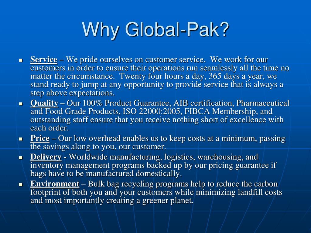 Why Global-Pak?