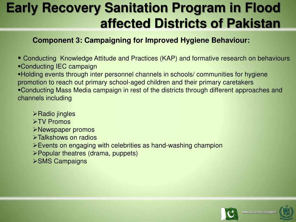 Early Recovery Sanitation Program in Flood affected Districts of Pakistan