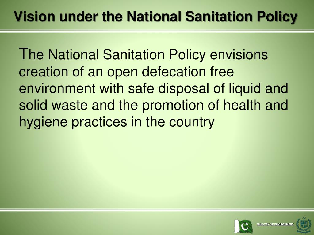 Vision under the National Sanitation Policy
