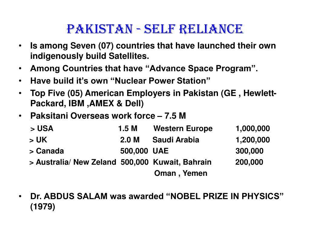 Pakistan - self reliance