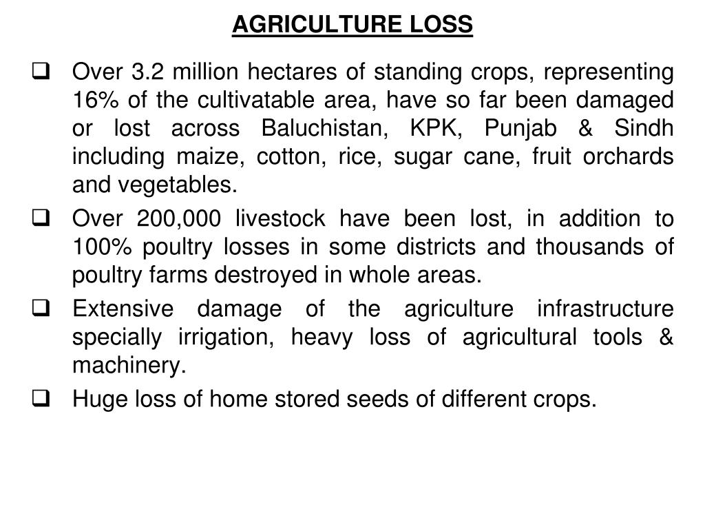 AGRICULTURE LOSS