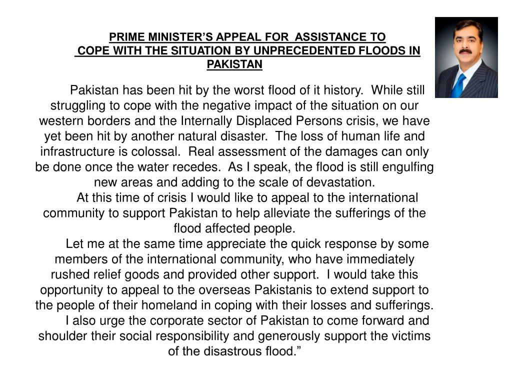 PRIME MINISTER'S APPEAL FOR  ASSISTANCE TO