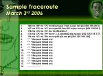 sample traceroute march 3 rd 2006