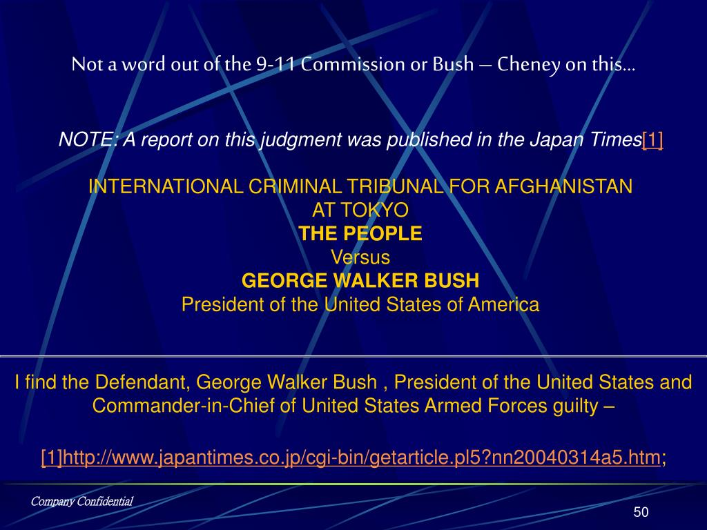 Not a word out of the 9-11 Commission or Bush – Cheney on this…