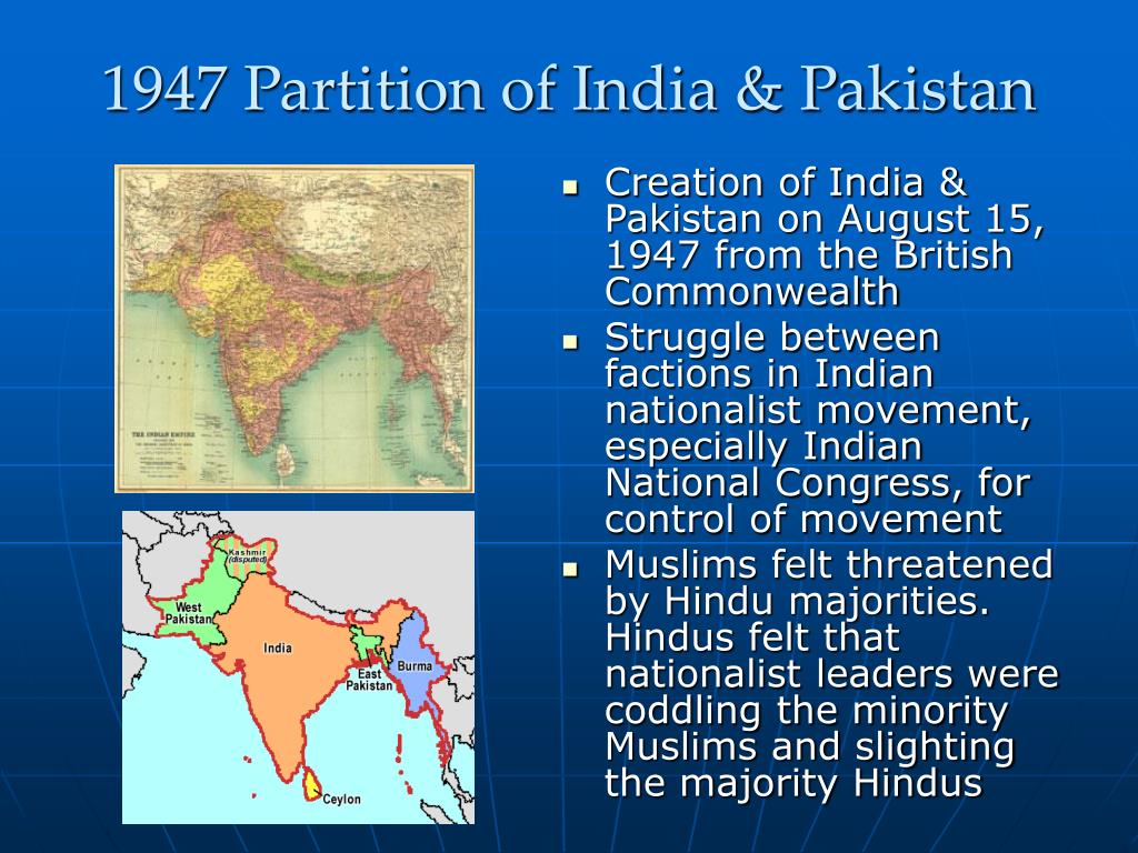 1947 Partition of India & Pakistan