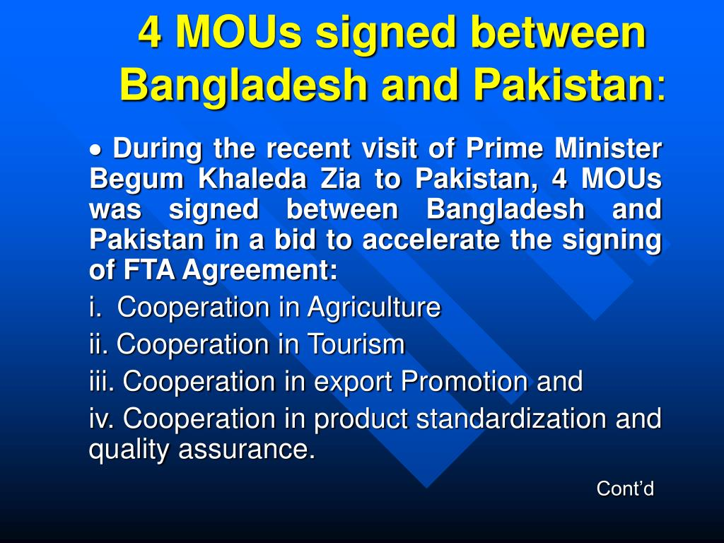 4 MOUs signed between Bangladesh and Pakistan