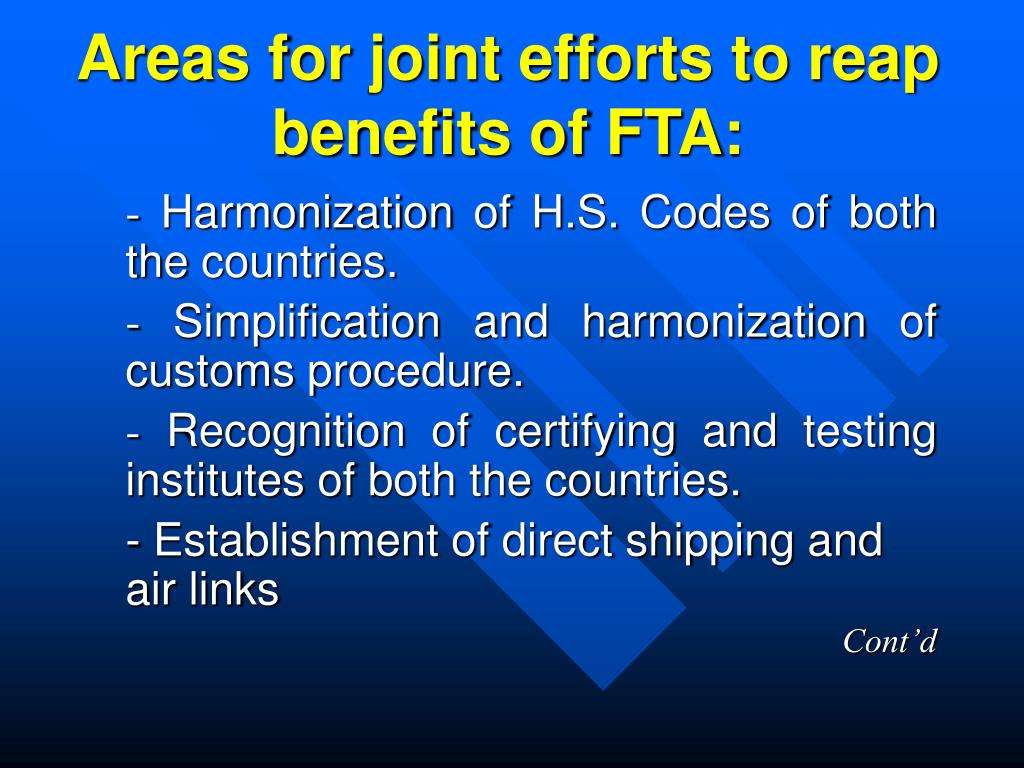 Areas for joint efforts to reap benefits of FTA: