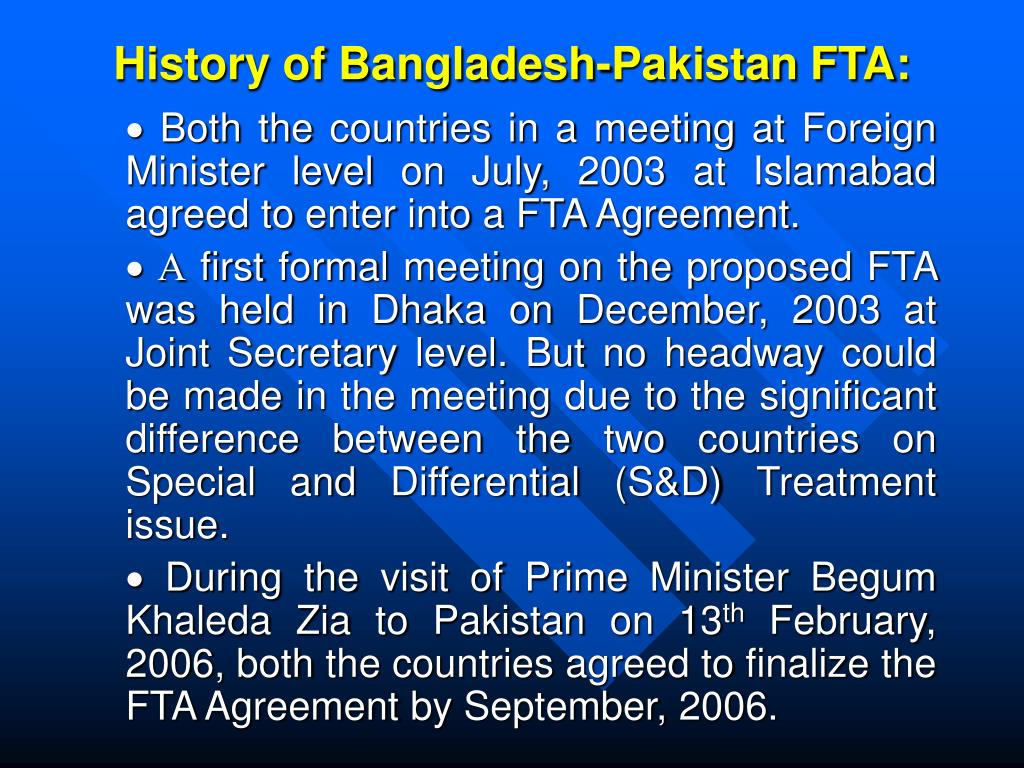 History of Bangladesh-Pakistan FTA: