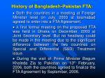 history of bangladesh pakistan fta