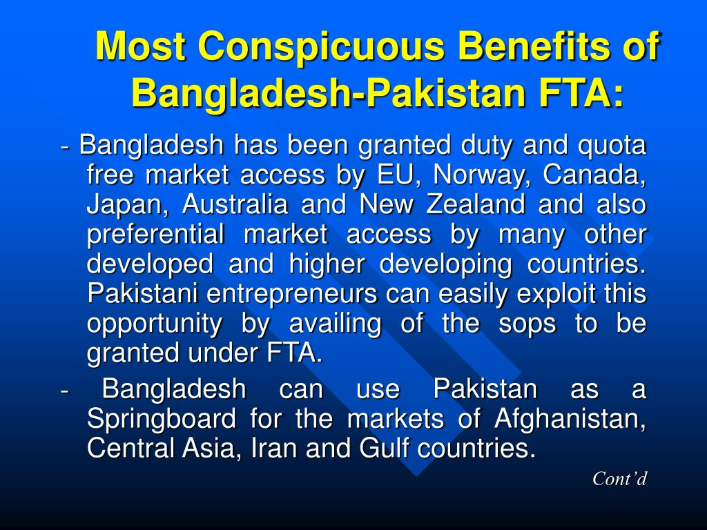 Most Conspicuous Benefits of Bangladesh-Pakistan FTA: