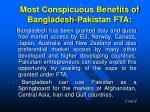 most conspicuous benefits of bangladesh pakistan fta