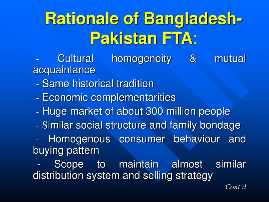 Rationale of Bangladesh-Pakistan FTA