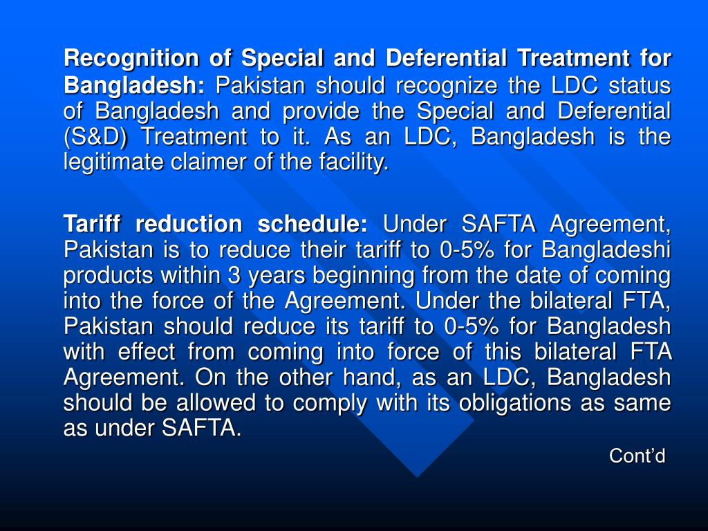 Recognition of Special and Deferential Treatment for Bangladesh: